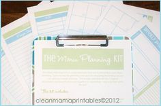 The Menu Planning Kit  Aqua and Lime  7 by CleanMamaPrintables, $12.00