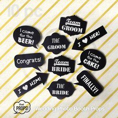 Wedding Photo Booth Props 10pc , Wedding Photobooth Props, Physical Props, Wedding Props, Wedding Photo Props