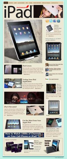 Apple iPad ready-made website for sale!    Comprehensive website design with very elegant and detailed graphics, plenty of content, dozens of pictures, videos reviews, contact/privacy pages, and more! READY TO RUN with ANY affiliate programs such as AdSense, Amazon, ClickBank, Chitika, AdBrite, Kontera, Infolinks... all of them! Built-in and preconfigured auto-updating Amazon Store, start selling without keeping any inventory!