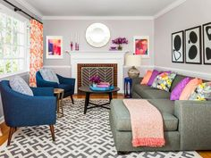 How to make your living room modern, fun, and bright #hgtvmagazine http://www.hgtv.com/design/rooms/living-and-dining-rooms/make-your-living-room-look-20-years-younger?soc=pinterest