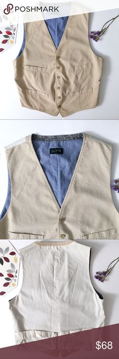 J.Crew Khaki   Denim Vintage Seersucker Vest SZ. M Exclusive J.Crew Men's Sample Piece! One of a kind- marked Sample on the interior of Vest. This Exclusive Vintage Seersucker vest is from Spring 2008 Sample Sale and Pre-View Line! Size Medium. Front pockets are still factory sewn shut. Extremely slight discoloration around the edges which and unnoticeable and just due to this vest being vintage. J. Crew Jackets & Coats Vests