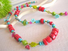 Long Boho Necklace Lime Green Red Coral by sunrisetreasures, $54.00