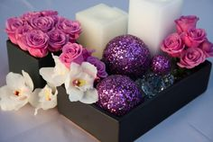 Roses and orchid modern contemporary centerpiece