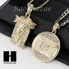 b3294ad10b7a MEN ICED OUT JESUS   LAST SUPPER PENDANT BOX CUBAN CHAIN DOUBLE NECKLACE  SET SD9