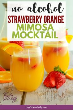 Strawberry orange mimosa mocktail-the perfect non alcoholic, 3 ingredient beverage! Celebrate strawberry season with a refreshing drink! Party Drinks Alcohol, Alcohol Drink Recipes, Punch Recipes, Easy Recipes, Healthy Recipes, Non Alcoholic Mimosa, Alcoholic Beverages, Brunch Drinks, Yummy Drinks