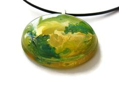 Hand painted green yellow and gold paint by ClarityArtJewelry