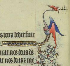 Border Dragon from Horae ad usum Parisiensem [Grandes Heures de Jean de Berry]. c. 1400-10.