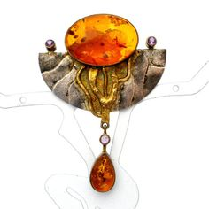 Amber Pendant Brooch Sterling Silver by TheJewelryLadysStore