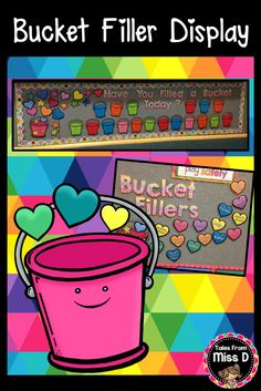 Support the concept of Bucket Fillers with this bright and colourful display! Included in the Bucket Filler resource; 1) Lettering & Images 2) Student reward buckets (colour and b&w) 3) What does a Bucket Filler do? Display (prefilled & blank cards) © Tales From Miss D
