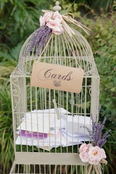 """an antique birdcage for cards and the suitcase for """"honeymoon fund""""?! @Katesia Blackmon"""