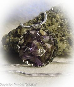 Amethyst Stone Bottle Cap Pendant 20 inch by superioragates, $7.00