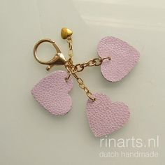 Leather heart keychain / leather heart key fob/ leather bag
