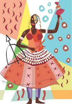 Ewa ou Yewá, orixá feminino do Rio Yewa. Protetora das moças virgens e dona da vidência. linhadasaguas.com.br