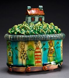 Lisa Muller handbuilt Earthenware clay work work Reminiscent of Paul Young! Earthenware Clay, Ceramic Clay, Clay Houses, Art Houses, Clay Projects, Ceramics Projects, Ceramic Boxes, Clay Vase, Pottery Tools