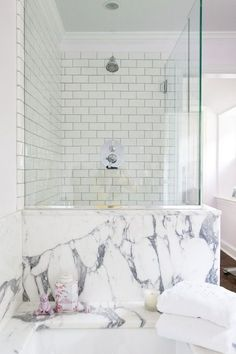 marble + subway tile #bathrooms