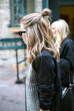 Half-up top knot // wavy hair, bun, contrast jacket & sunglasses #style #fashion #hairstyle