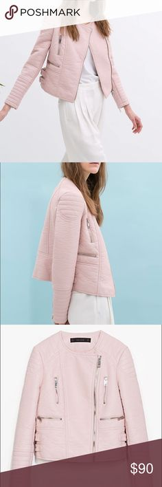 Zara pink leather jacket!! Pink leather jacket from zara!!! Only worn once!!! Has many pockets in the front Zara Jackets & Coats