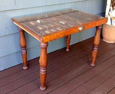 vintage wood letterpress tray table | vintage wood, letterpresses