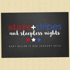 of July pregnancy announcement card – Independence Day greetings card (stars, stripes and sleepless nights) - BABY ANNOUNCEMENT Independence Day Greeting Cards, Pregnancy Announcement Cards, Birth Announcements, After Baby, Sleepless Nights, First Time Moms, Baby Sleep, Baby Baby, Baby Names
