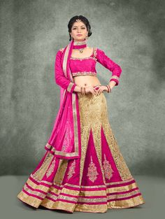 Cream and Pink Net Lehenga Choli with Embroidery Work