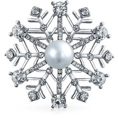 Simulated Pearl Crystal Christmas Snowflake Pin Brooch Rhodium Plated ($17)  ❤ Liked On Polyvore
