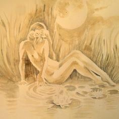 Beautiful woman next to the lake, coffee painting Coffee Painting, Canvas Prints, Art Prints, Long Hoodie, Decorative Throw Pillows, Chiffon Tops, Classic T Shirts, Beautiful Women, Tapestry