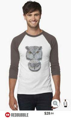 'Watchful Eye of Time'  Owl Moth Baseball Tshirt #artbyurte