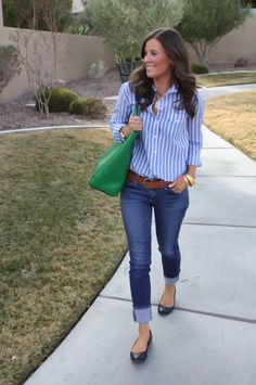 Use blue oxford shirt and roll up jeans...can add leopard wedges...need wide brown belt.