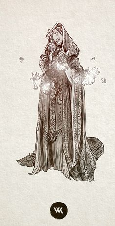 """A high elf warlock in service of the arch-fey named """"The Lady of Moths and Forgotten Things""""."""