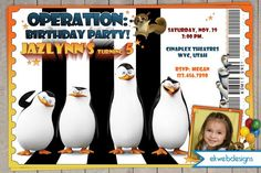 Penguins of Madagascar Birthday Invitation