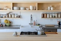 Heide Lender's house, San Francisco. Butcher's sink, gas top on island bench, open ply shelving.