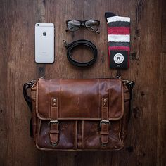 "Josh Tyvan calls his Leather Prince Street and the other gear you see here his ""Mandatory Accessories."" What essentials do you carry around with you every day? // #onabags #inMyONA"
