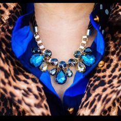 HP  Stunning Luce Blue gem/rope necklace  Stunning Luxe blue gem and rope necklace! This contains glass crystals and gold plated base metals. Ask me about bundling!  This is from a smoke free home  T&J Designs Jewelry Necklaces