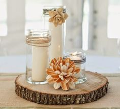 Simply Stunning Wedding Centerpieces: Simple and Beautiful Candle Centerpieces Vintage Wedding Centerpieces, Simple Centerpieces, Wedding Table Flowers, Candle Centerpieces, Wedding Vintage, Diy Candles, Deco Table Champetre, Diy Wedding Reception, Wedding Decor