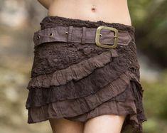 Layla Skirt (Brown) - Festival Gypsy Bohemian Hippie Fairy Festival Goa Psytrance Party Doof Pocket Cotton Crochet Lace Sexy Short Skirt