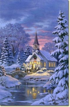 """Country Church"" by Robert Gauthier-Christmas Painting Christmas Scenes, Christmas Past, Christmas Pictures, Winter Christmas, Xmas Holidays, Blue Christmas, Country Christmas, Illustration Noel, Christmas Illustration"