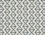 Large geometric motif embroidered and printed on linen.
