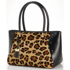 Lauren Ralph Lauren Handbag, Langley East West Haircalf Tote ($398) ❤ liked on Polyvore featuring bags, handbags, tote bags, zip top tote bag, brown tote, cat tote bag, studded tote bag and leopard tote