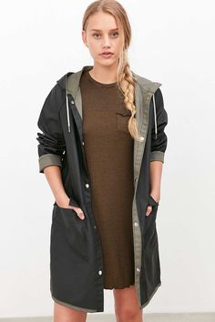 Shop BDG Reversible Fisherman Raincoat at Urban Outfitters today. Hooded Raincoat, Green Coat, Raincoats For Women, Urban Outfitters, Rain Jacket, Fitness Models, How To Make, How To Wear, Clueless