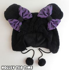 ☆ New! Creepy cute black bear hat. ☆ Just got added to my online shop. You can also buy the hair bows separately in a set of 2 hair bows or just one hair bow. ( 。◕ ‿ ◕。 )...