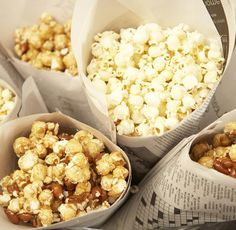Use paper cones line with parchment paper for popcorn when having friends over to watch something on TV like the Golden Globes or a great movie.