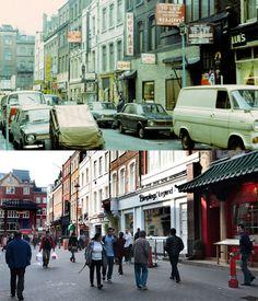 Gerrard Street, Chinatown in 1973 and today London Now, London Places, Old London, London Life, West London, London History, British History, Tower Bridge London, Camden Town