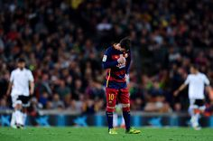 Lionel Messi of FC Barcelona looks on dejected after his team mate Ivan Rakitic of FC Barcelona scored an own goal during the La Liga match between...