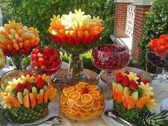 Frutas creativas para buffet o mesa de postres                                                                                                                                                                                 Más