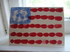 Fingerprint Flag Craft - This American Flag card is a simple, but great craft especially for young children. Toddlers will be so proud of their American Flag!