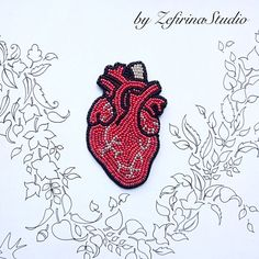 Red brooch Anatomical heart hand by ZefirinaStudioStore on Etsy