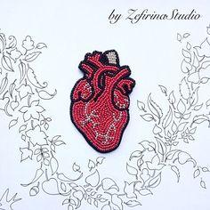 Red brooch Anatomical heart hand by ZefirinaStudioStore on Etsy