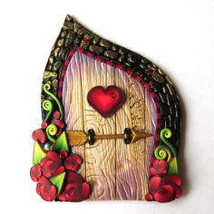 Cupids Rose Garden Fairy Door Miniature Polymer Clay Door, Valentine Decor by Claybykim on Etsy