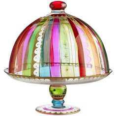 Festive Stripes Cake Stand & Dome from Pier One Deliver with a cake in it to a new neighbor or friend/hostess gift. Cake Stand With Dome, Cake Dome, Pedestal Cake Stand, Take The Cake, Love Cake, Pretty Cakes, Beautiful Cakes, Kitchenaid, Striped Cake
