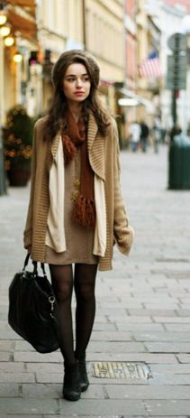 big sweater, cute short dress, hat, a practical bag and boots! Love it!